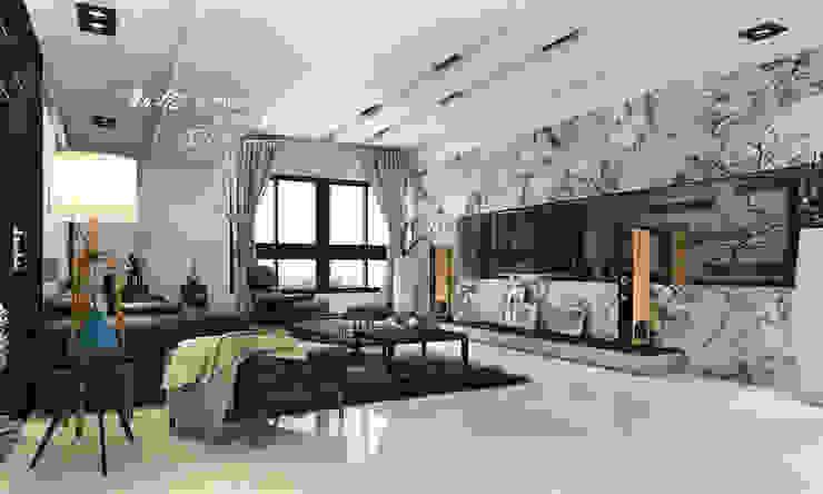 客廳/石材/人文休閒 现代客厅設計點子、靈感 & 圖片 根據 木博士團隊/動念室內設計制作 現代風 大理石