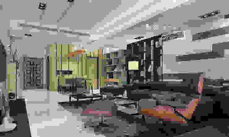 客廳/石材/人文休閒 现代客厅設計點子、靈感 & 圖片 根據 木博士團隊/動念室內設計制作 現代風 木頭 Wood effect