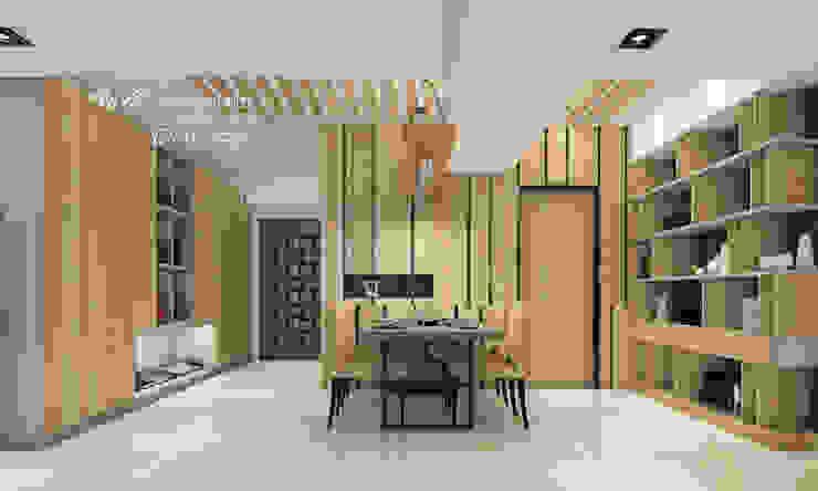 餐廳/鋼刷木皮/人文休閒 根據 木博士團隊/動念室內設計制作 現代風 木頭 Wood effect