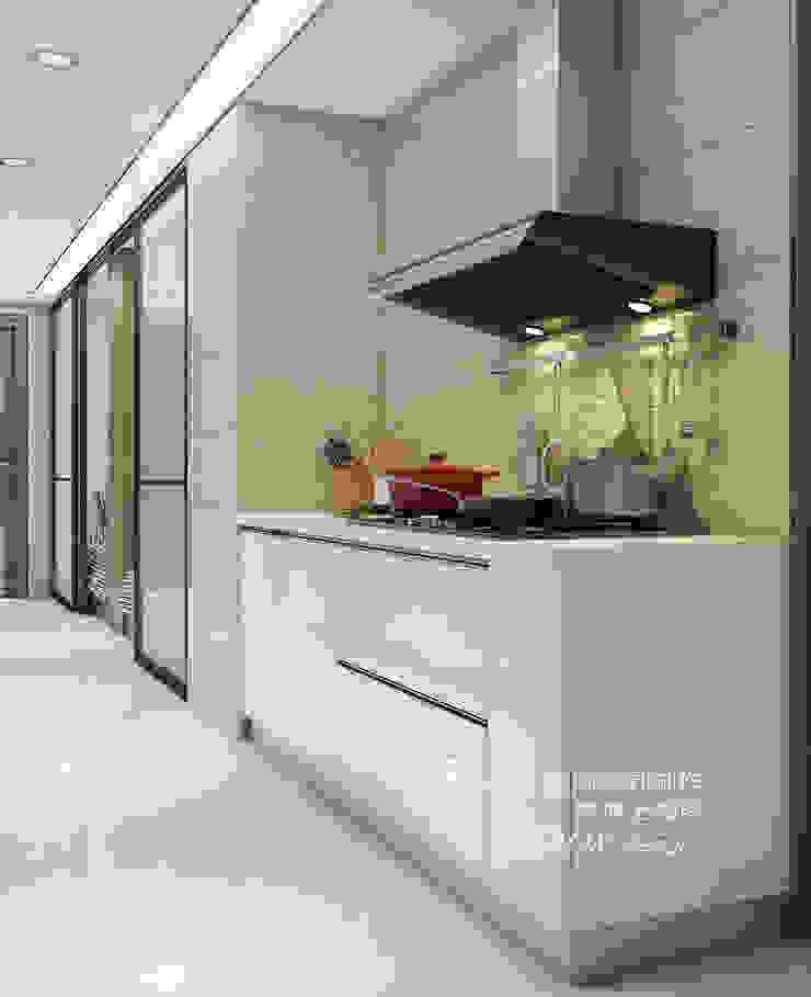 廚房/歐式系統家具/人文休閒 現代廚房設計點子、靈感&圖片 根據 木博士團隊/動念室內設計制作 現代風 玻璃
