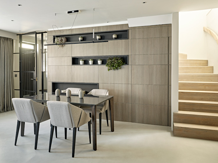 Open plan kitchen, living and dining room Industrial style dining room by Tailored Living Interiors Industrial Concrete