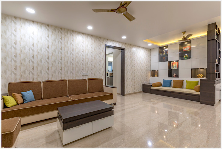 Mr. Prashant Pawar and Family Modern living room by GREEN HAT STUDIO PVT LTD Modern