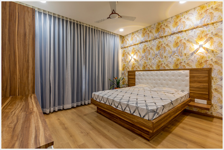 Mr. Prashant Pawar and Family Modern style bedroom by GREEN HAT STUDIO PVT LTD Modern