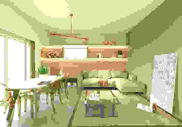 Vista del soggiorno andrea-bendinelli Soggiorno moderno Cemento Marrone