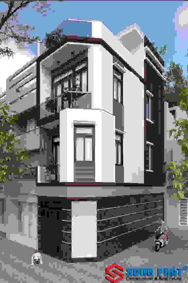 Phối cảnh thiết kế mặt tiền nhà 1 trệt 2 lầu tại quận 5. bởi Công ty TNHH TK XD Song Phát Hiện đại Đồng / Đồng / Đồng thau