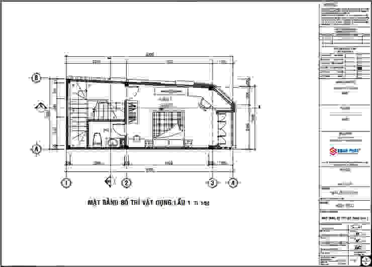 Bản vẽ thiết kế mặt bằng lầu 1. bởi Công ty TNHH TK XD Song Phát Hiện đại Đá hoa