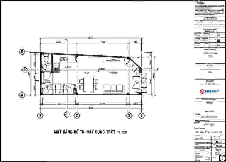Bản vẽ thiết kế mặt bằng tầng trệt. bởi Công ty TNHH TK XD Song Phát Hiện đại OSB