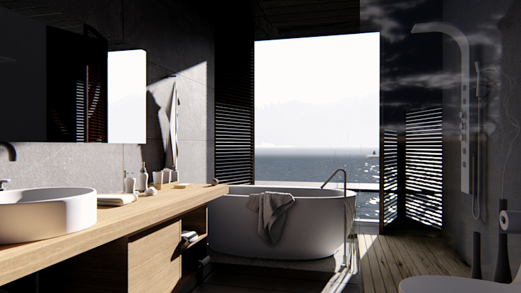 alexander and philips Tropical style bathrooms Stone Grey