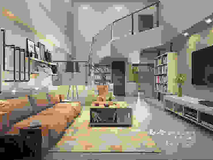 客廳/樓中樓/不鏽鋼/鐵件/工業風 根據 木博士團隊/動念室內設計制作 工業風 木頭 Wood effect