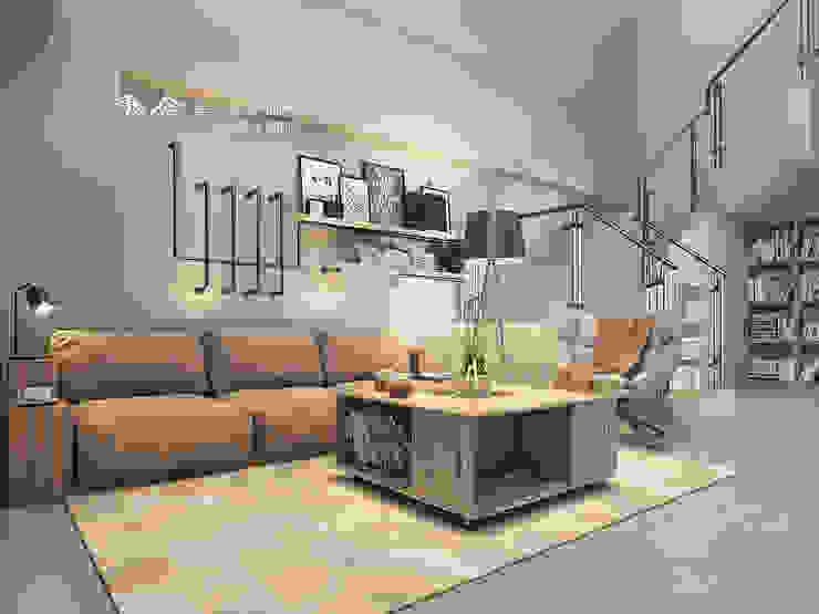 客廳/沙發背牆/展示架/工業風 木博士團隊/動念室內設計制作 客廳 鐵/鋼 Orange