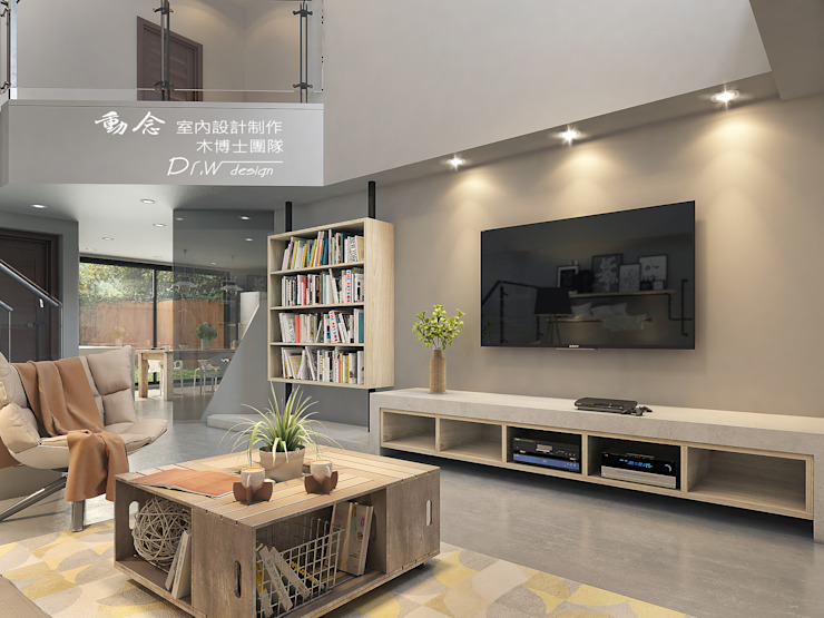 客廳/電視牆/工業風 根據 木博士團隊/動念室內設計制作 工業風 水泥