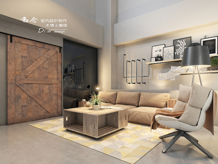 Living room by 木博士團隊/動念室內設計制作, Industrial Wood Wood effect