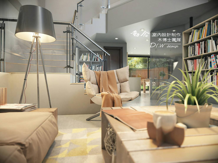 客廳/工業風 根據 木博士團隊/動念室內設計制作 工業風 木頭 Wood effect