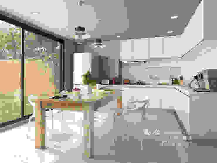 餐廳/廚房/歐式系統廚具/工業風 根據 木博士團隊/動念室內設計制作 工業風 木頭 Wood effect