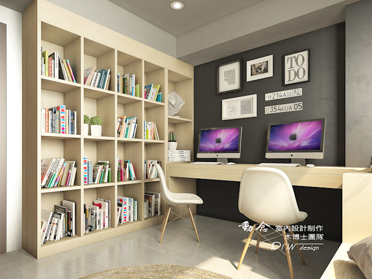 書房/書櫃/臥室/輕工業風 根據 木博士團隊/動念室內設計制作 工業風 木頭 Wood effect
