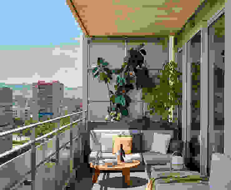 Vivienda en Diagonal Mar Balcones y terrazas de estilo escandinavo de YLAB Arquitectos Escandinavo