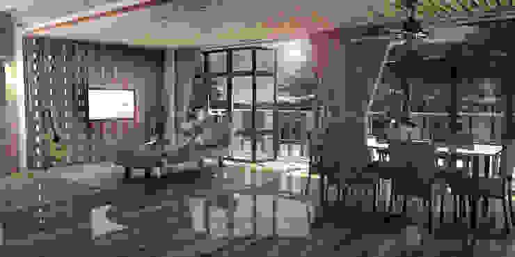 Living Room Ruang Keluarga Gaya Asia Oleh Scande Architect Asia Bambu Green