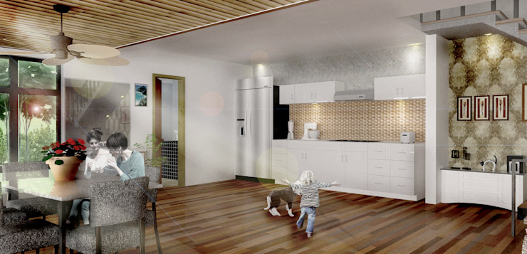 Dapur Putih Oleh Scande Architect Tropis Kayu Wood effect