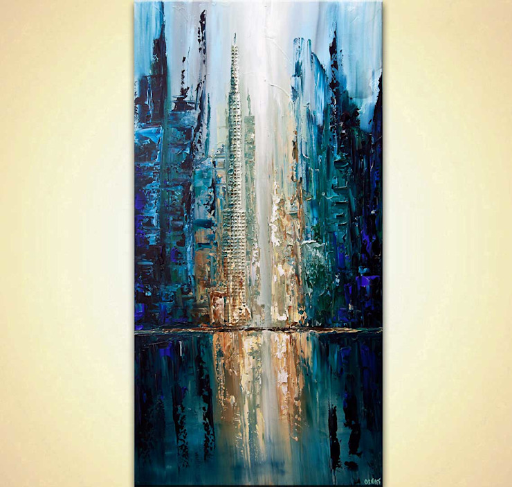 """City of Angels"" - Abstract City Painting - heavy texture, painted with a palette knife by Osnat Tzadok OSNAT FINE ART 藝術品照片與畫作 Blue"