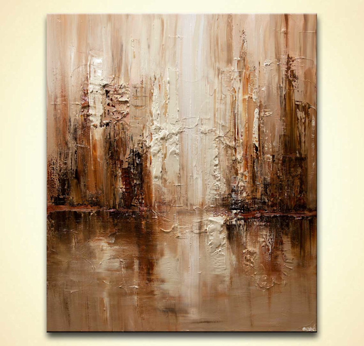 """City Aroma"" -  Modern Brown beige textured abstract art by Osnat Tzadok: modern  by OSNAT FINE ART, Modern"