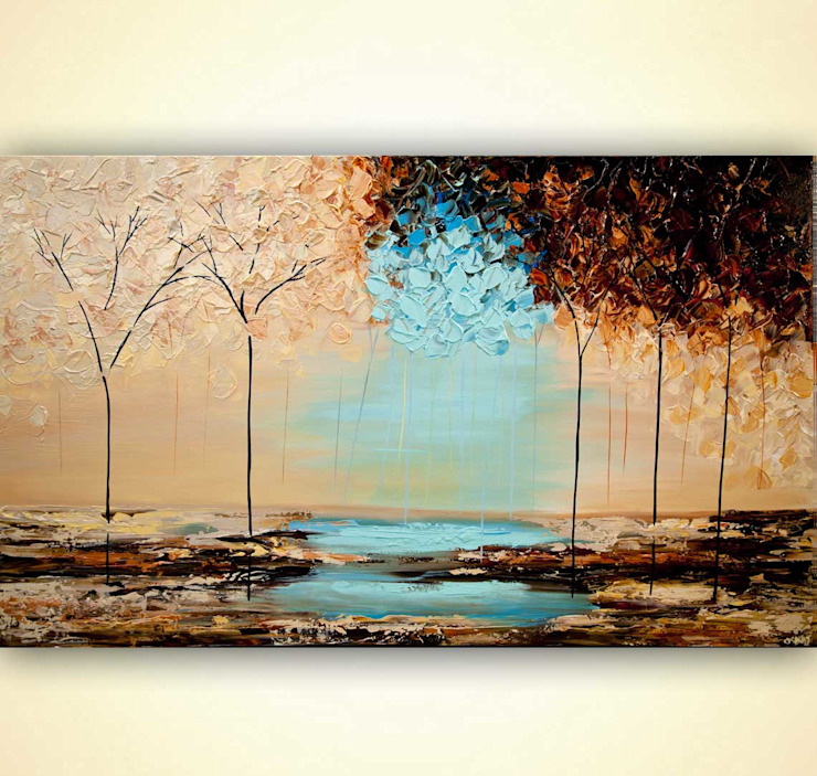 """""""Pride"""" - modern landscape painting textured by Osnat Tzadok OSNAT FINE ART ArtworkPictures & paintings Beige"""