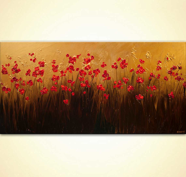 """""""Abundance"""" - modern poppies floral painting textured by Osnat Tzadok OSNAT FINE ART ArtworkPictures & paintings Amber/Gold"""