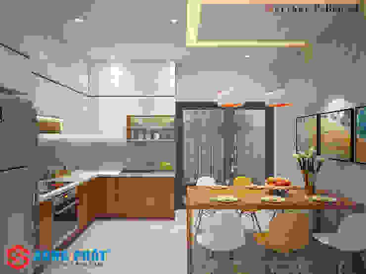 Bếp chữ L giúp cho không gian thêm sự tiện nghi. Nhà bếp phong cách hiện đại bởi Công ty TNHH TK XD Song Phát Hiện đại Đá hoa