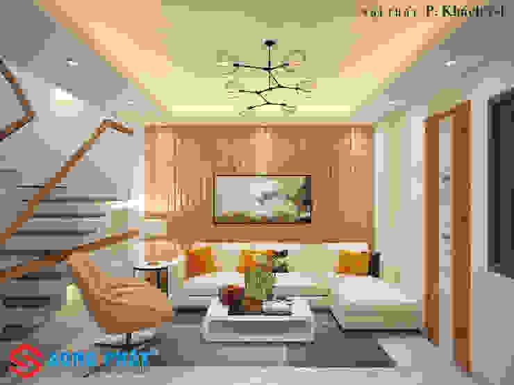 Phối cảnh nội thất phòng khách. bởi Công ty TNHH TK XD Song Phát Hiện đại Đồng / Đồng / Đồng thau