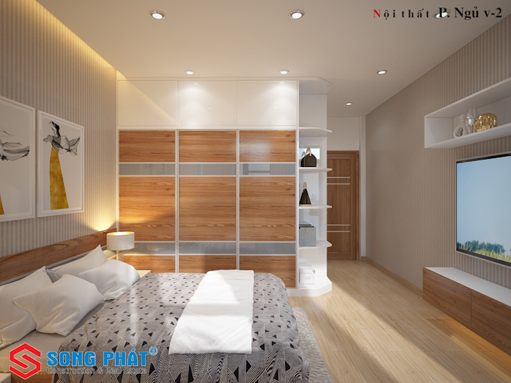 Các ô cửa sổ lớn giúp ánh sáng và gió tự nhiên luôn tràn ngập trong không gian nhà. Phòng ngủ phong cách hiện đại bởi Công ty TNHH TK XD Song Phát Hiện đại Than củi Multicolored