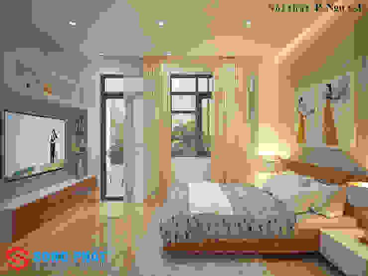 Các vật dụng có thiết kế đơn giản, ít họa tiết rườm rà sẽ phù hợp với những ngôi nhà có thiết kế hiện đại. Phòng ngủ phong cách hiện đại bởi Công ty TNHH TK XD Song Phát Hiện đại Đồng / Đồng / Đồng thau