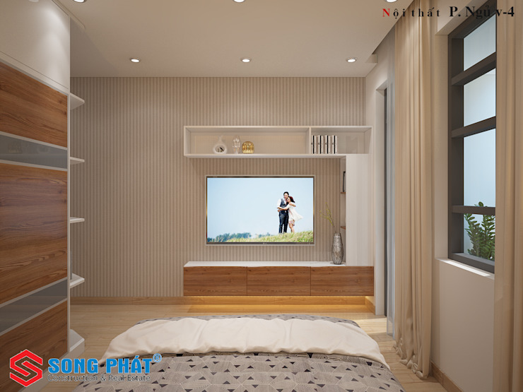 Sử dụng những kệ, tủ sát tường sẽ tạo ra nhiều diện tích sử dụng cho chủ nhân căn phòng. Phòng ngủ phong cách hiện đại bởi Công ty TNHH TK XD Song Phát Hiện đại Đồng / Đồng / Đồng thau