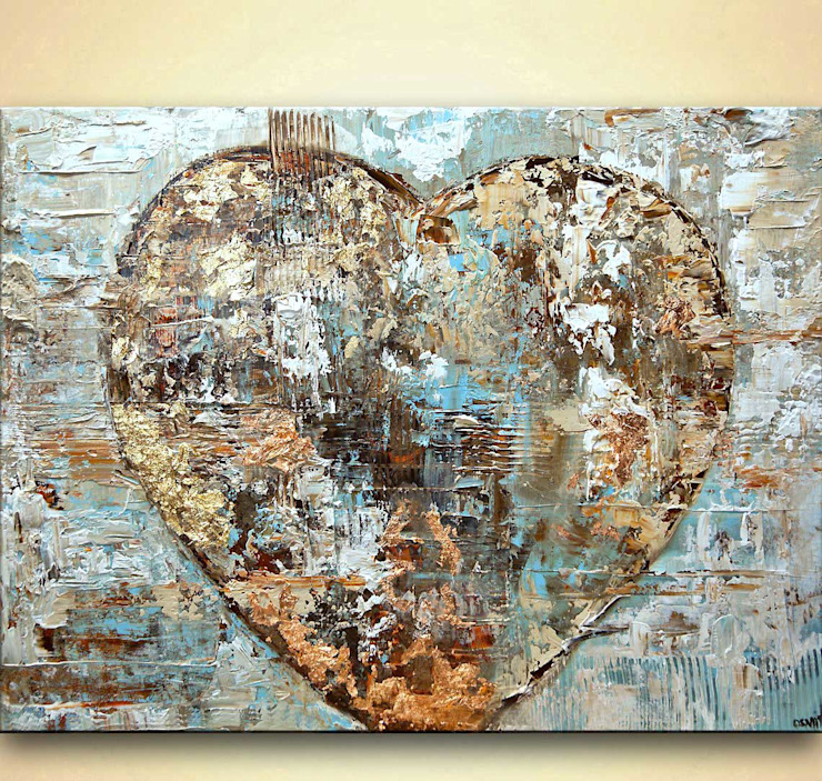 """Artist's Heart"" - original modern abstract art heart painting with gold leaf by Osnat Tzadok: modern  by OSNAT FINE ART, Modern"