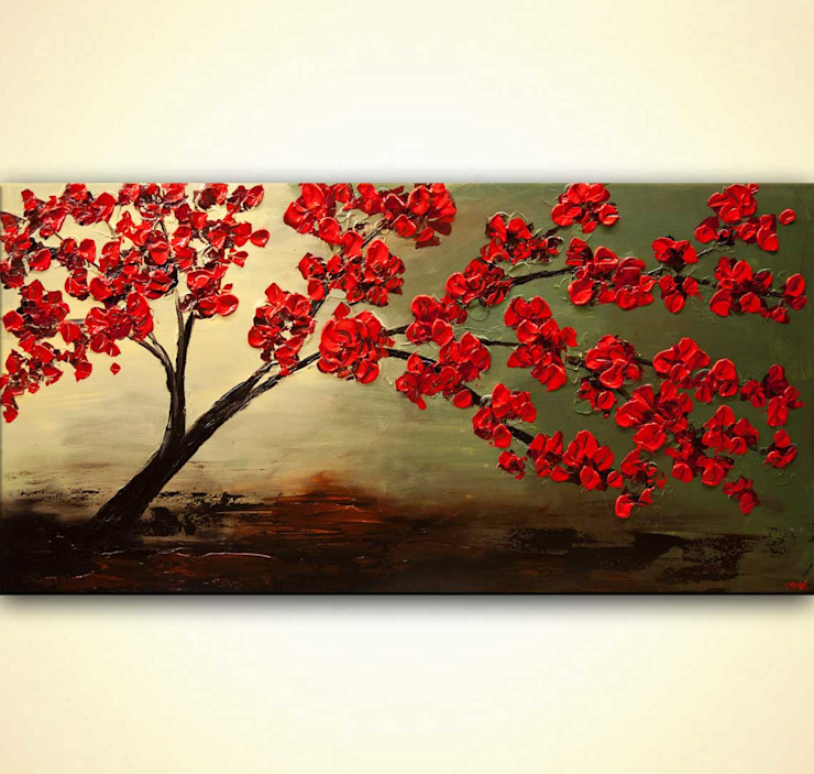 """Blossom In My Heart"" -  blooming tree painting on canvas by Osnat Tzadok: modern  by OSNAT FINE ART, Modern"