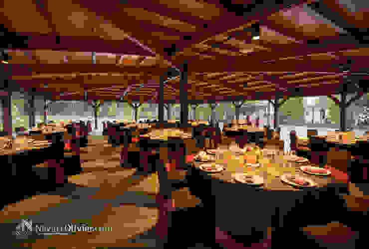 Cubierta Masía Mas Llombart Gastronomía de estilo moderno de NavarrOlivier Moderno Madera Acabado en madera
