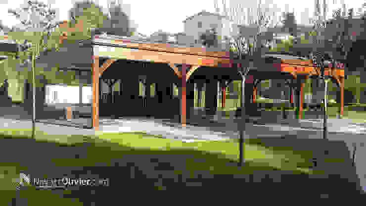 Construcción estructural en madera laminada Salones de eventos de estilo moderno de NavarrOlivier Moderno Madera Acabado en madera