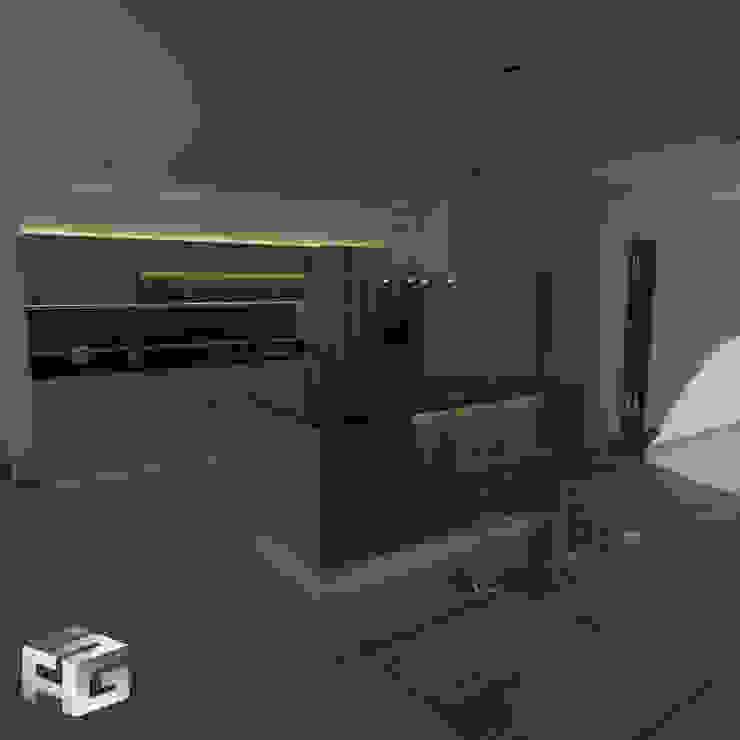 Cocina Rovere Y miel vista nocturna Cocinas modernas de sergio augusto arevalo gutierrez Moderno Aglomerado