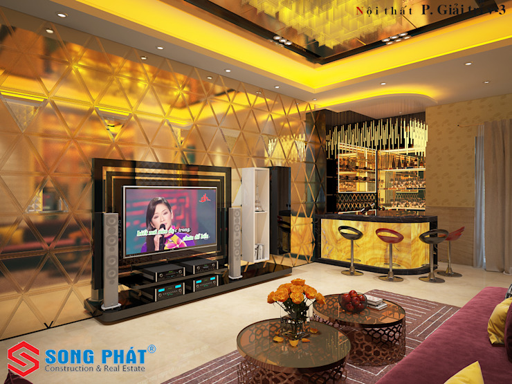 Tham Khảo Mẫu Nhà 3 Tầng Với Giá Xây Hoàn Thiện Là 1,3 Tỷ Phòng giải trí phong cách châu Á bởi Công ty Thiết Kế Xây Dựng Song Phát Châu Á