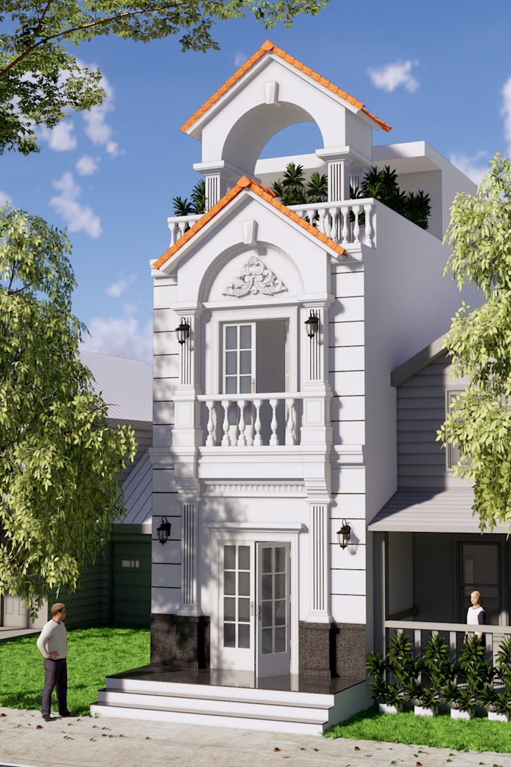 Nhà phố 1 trệt 1 lầu sân thượng sang trọng mang phong cách cổ điển. Nhà phong cách kinh điển bởi Công ty TNHH TK XD Song Phát Kinh điển Than củi Multicolored