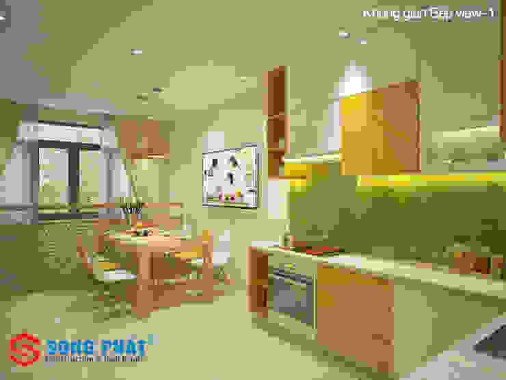Không gian bếp với tone màu tươi sáng. Phòng ăn phong cách hiện đại bởi Công ty TNHH TK XD Song Phát Hiện đại Đá hoa