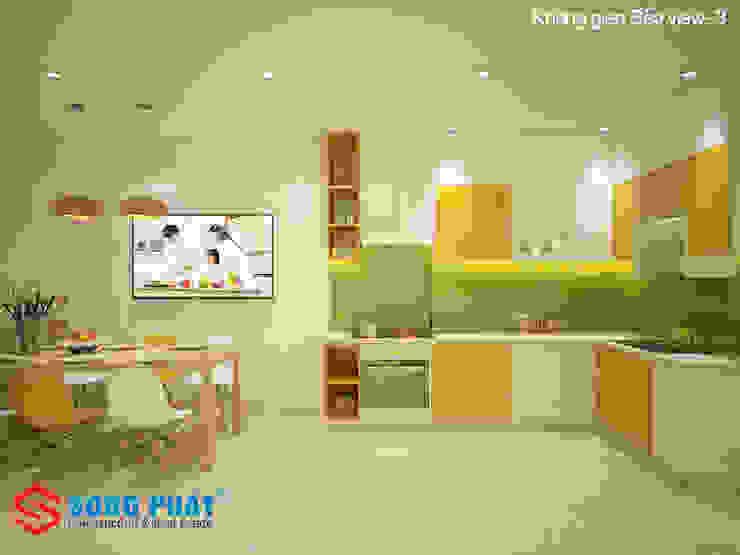 Màu sắc tươi sáng mang lại nhiều cảm hứng cho người nội trợ, đem đến bữa ăn ngon cho gia đình. Phòng ăn phong cách hiện đại bởi Công ty TNHH TK XD Song Phát Hiện đại Đồng / Đồng / Đồng thau