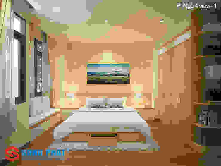 Phòng ngủ được thiết kế với phong cách đơn giản, nhẹ nhàng. Phòng ngủ phong cách hiện đại bởi Công ty TNHH TK XD Song Phát Hiện đại Đá hoa
