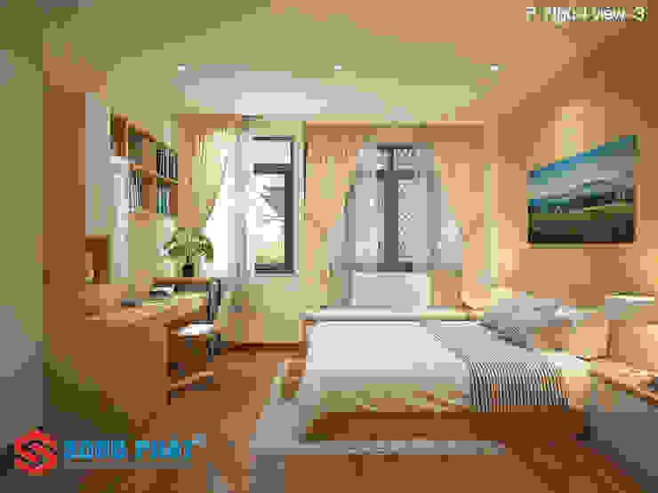 Chiêm ngưỡng thiết kế nội thất trẻ trung bên trong nhà phố 5 tầng Phòng ngủ phong cách hiện đại bởi Công ty TNHH TK XD Song Phát Hiện đại Đá hoa