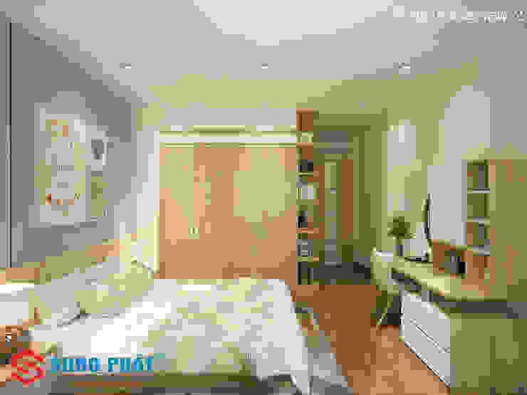 Chiêm ngưỡng thiết kế nội thất trẻ trung bên trong nhà phố 5 tầng Phòng ngủ phong cách hiện đại bởi Công ty TNHH TK XD Song Phát Hiện đại Đồng / Đồng / Đồng thau