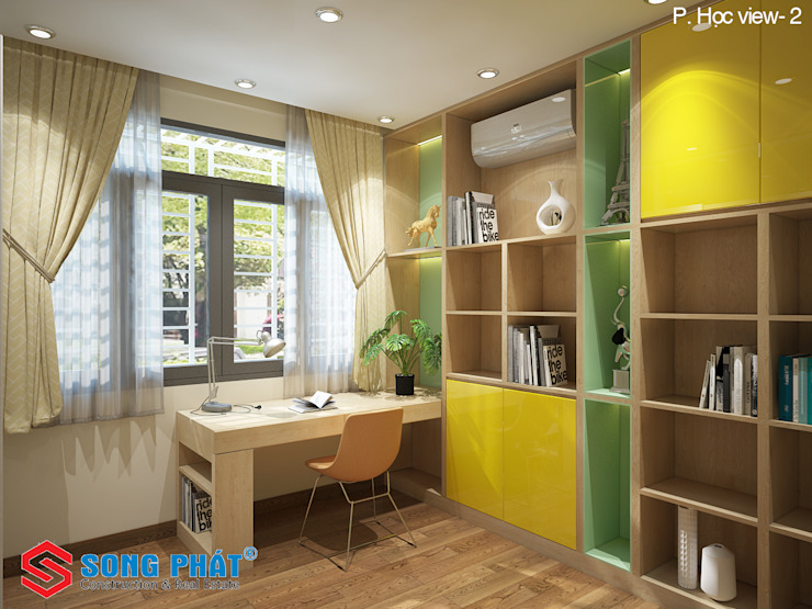 Chiêm ngưỡng thiết kế nội thất trẻ trung bên trong nhà phố 5 tầng Phòng học/văn phòng phong cách hiện đại bởi Công ty TNHH TK XD Song Phát Hiện đại Đá hoa