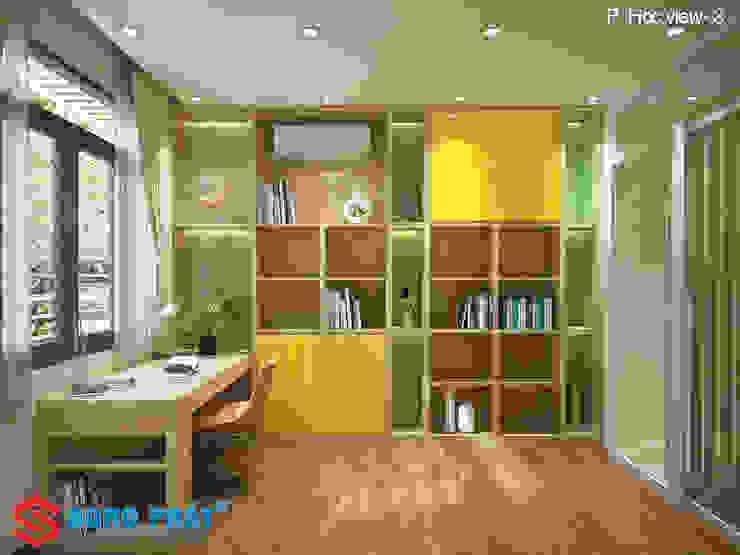Chiêm ngưỡng thiết kế nội thất trẻ trung bên trong nhà phố 5 tầng Phòng học/văn phòng phong cách hiện đại bởi Công ty TNHH TK XD Song Phát Hiện đại Đồng / Đồng / Đồng thau