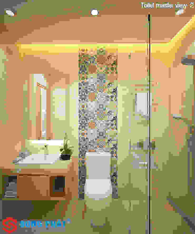 Chiêm ngưỡng thiết kế nội thất trẻ trung bên trong nhà phố 5 tầng Phòng tắm phong cách hiện đại bởi Công ty TNHH TK XD Song Phát Hiện đại Đồng / Đồng / Đồng thau
