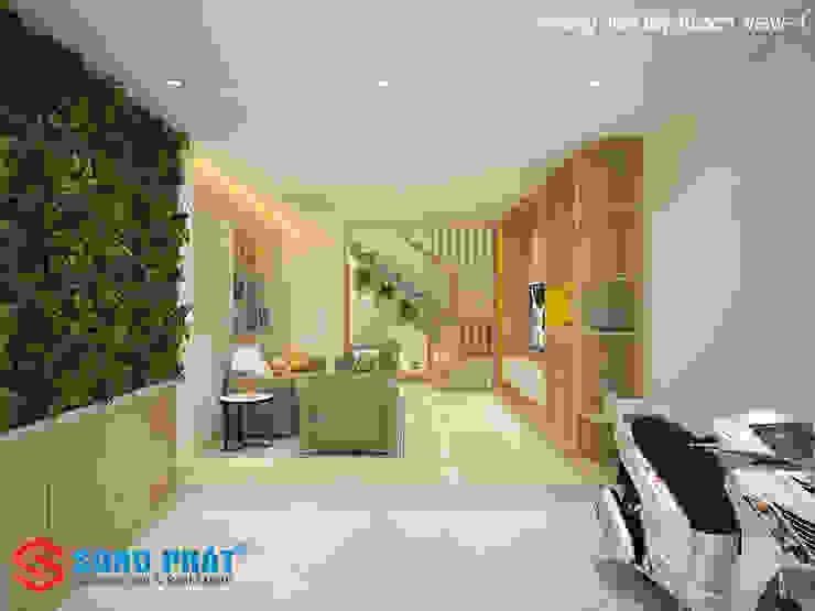 Chiêm ngưỡng thiết kế nội thất trẻ trung bên trong nhà phố 5 tầng bởi Công ty TNHH TK XD Song Phát Hiện đại Than củi Multicolored