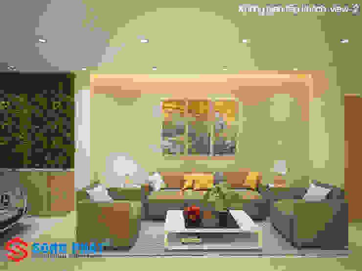 Chiêm ngưỡng thiết kế nội thất trẻ trung bên trong nhà phố 5 tầng bởi Công ty TNHH TK XD Song Phát Hiện đại Đồng / Đồng / Đồng thau