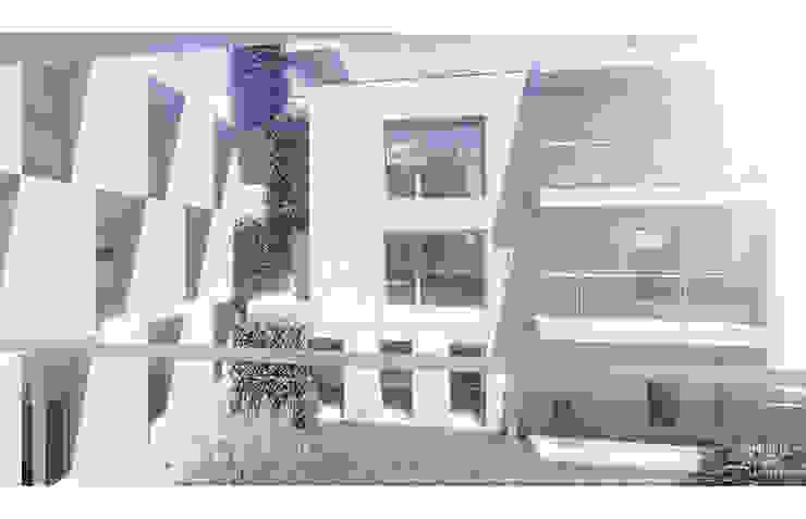 Vista da varanda sobre o jardim por OGGOstudioarchitects, unipessoal lda Minimalista