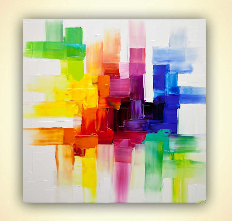 """Center Point"" - colorful abstract art by Osnat Tzadok: modern  by OSNAT FINE ART, Modern"